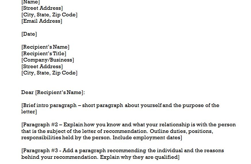 how to start letter of recommendation