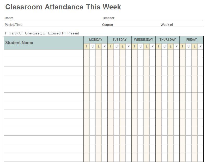 Class Attendance Template  Class Attendance Sheet Template