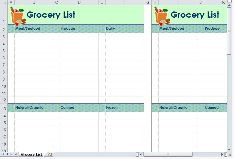 Grocery List Template  Grocery Shopping List Template