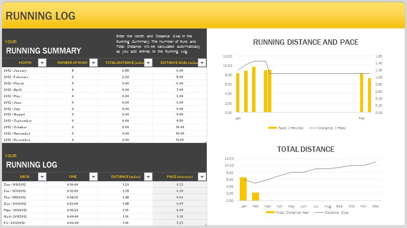 Running Log  Running Log Template