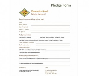 Donation Pledge Form  Donation Pledge Form Template