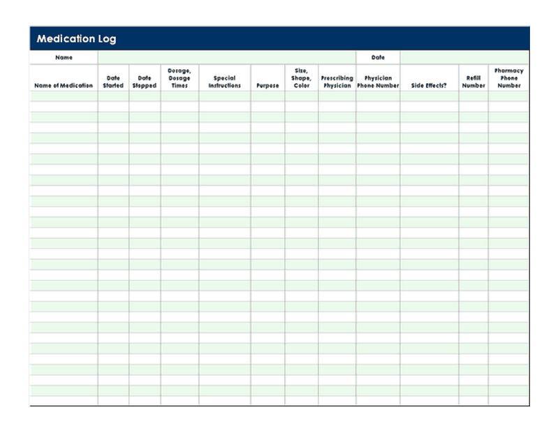 Medication Log Template  Medication Log