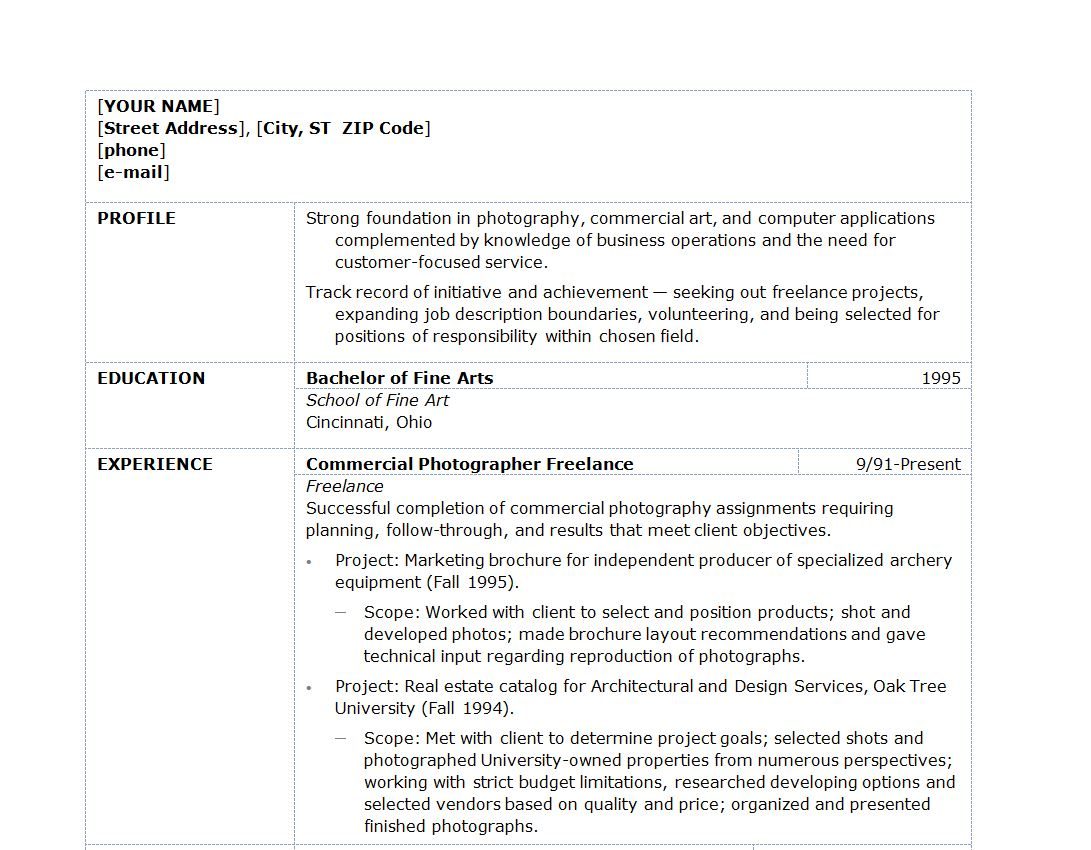 examples of photographer resume