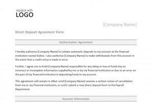 Direct Deposit Form Template   Direct Deposit Form
