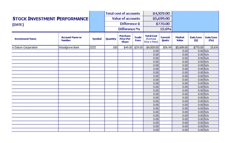 Stock Investment Tracker  Stock Investment Performance