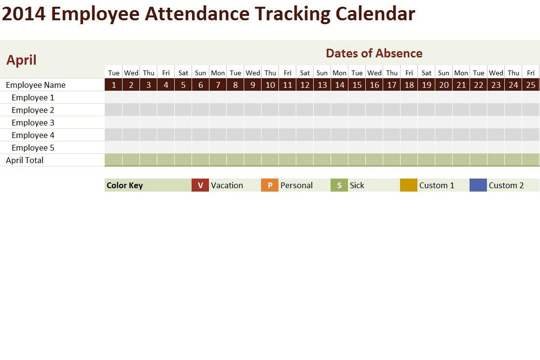 2014 Employee Attendance Tracking Calendar