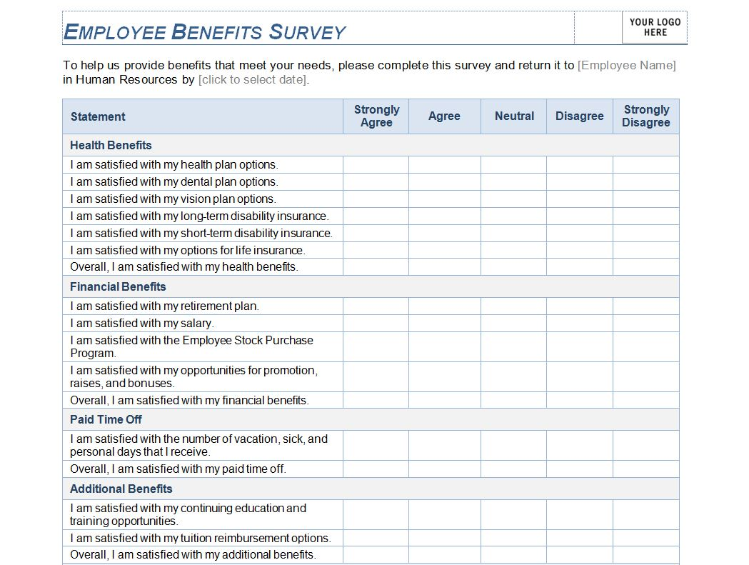employee benefit survey templates