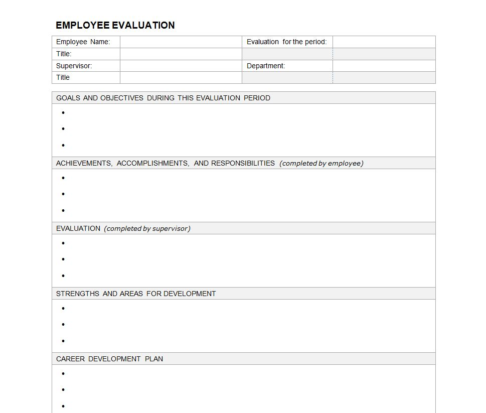 basic performance review template