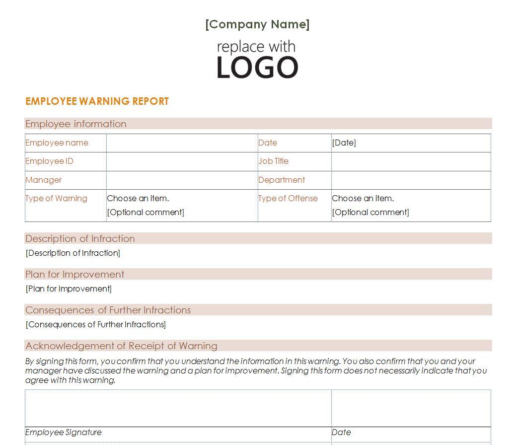 printable employee warning form