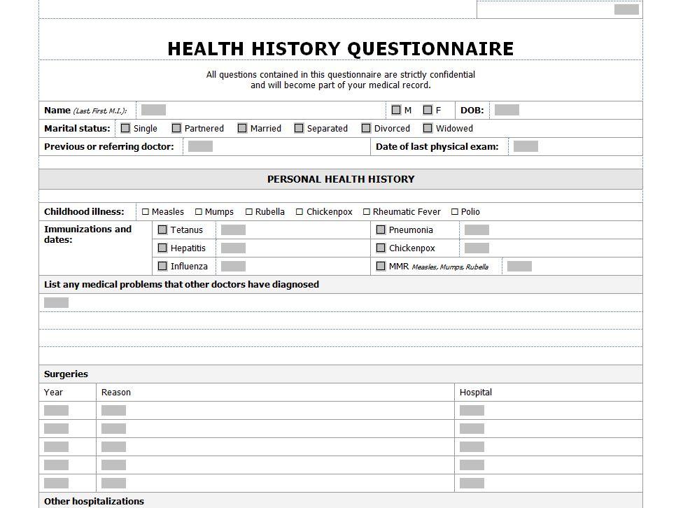 Health History Checklist  Health History Questionanaire