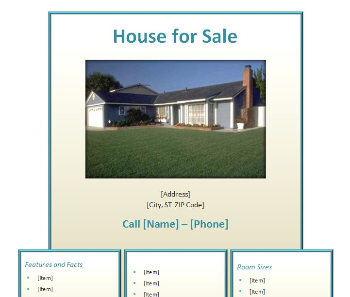 Home for Sale Flyer  Home for Sale Flyer Template