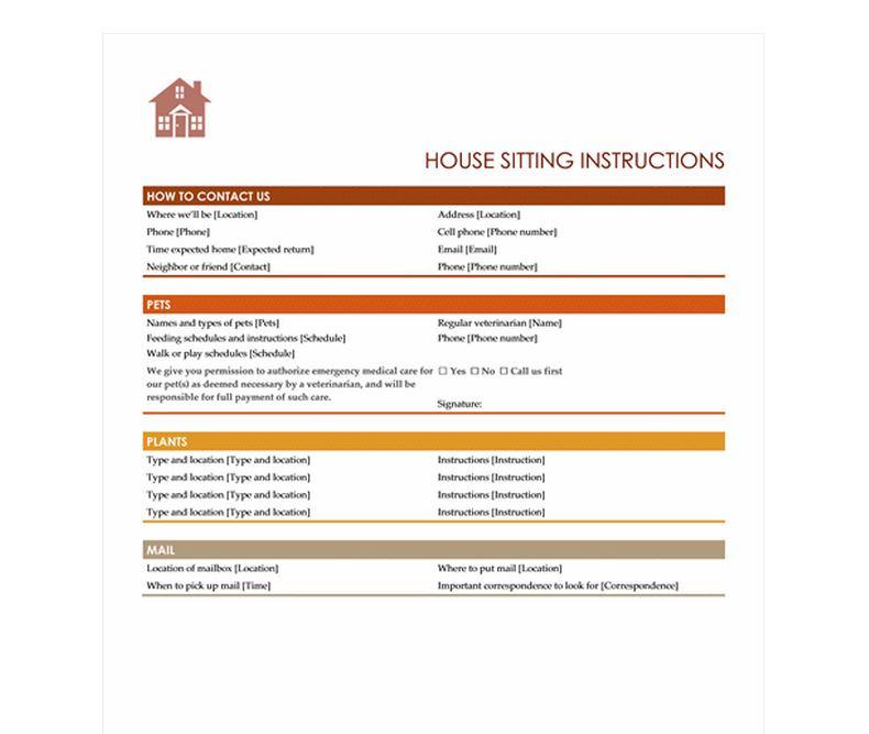 House Sitting Checklist  House Sitter Checklist