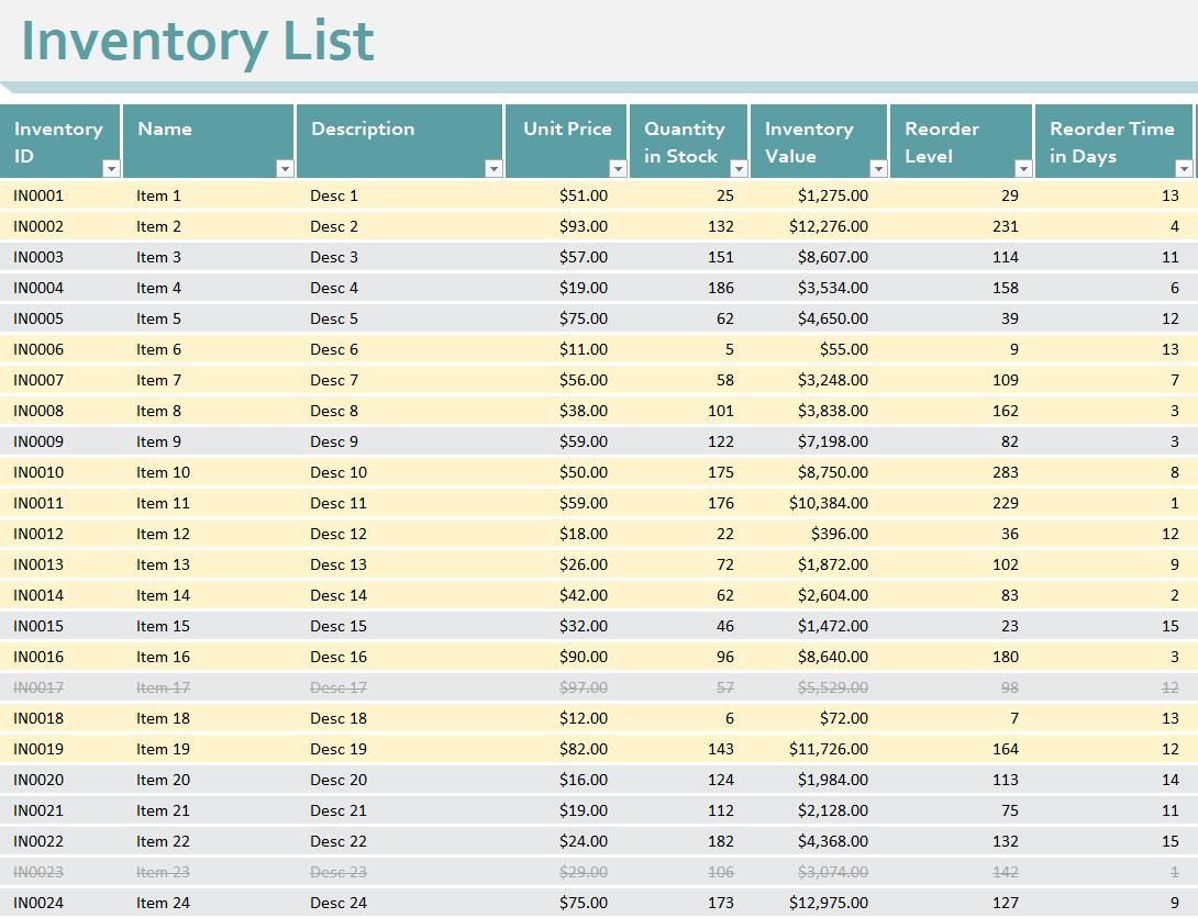Inventory Sheet Template Excel Workbook