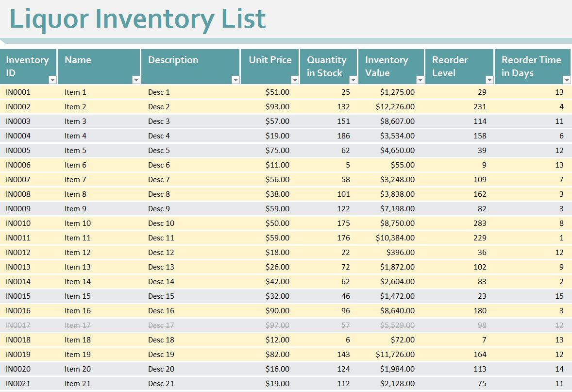 Liquor Inventory Sheet