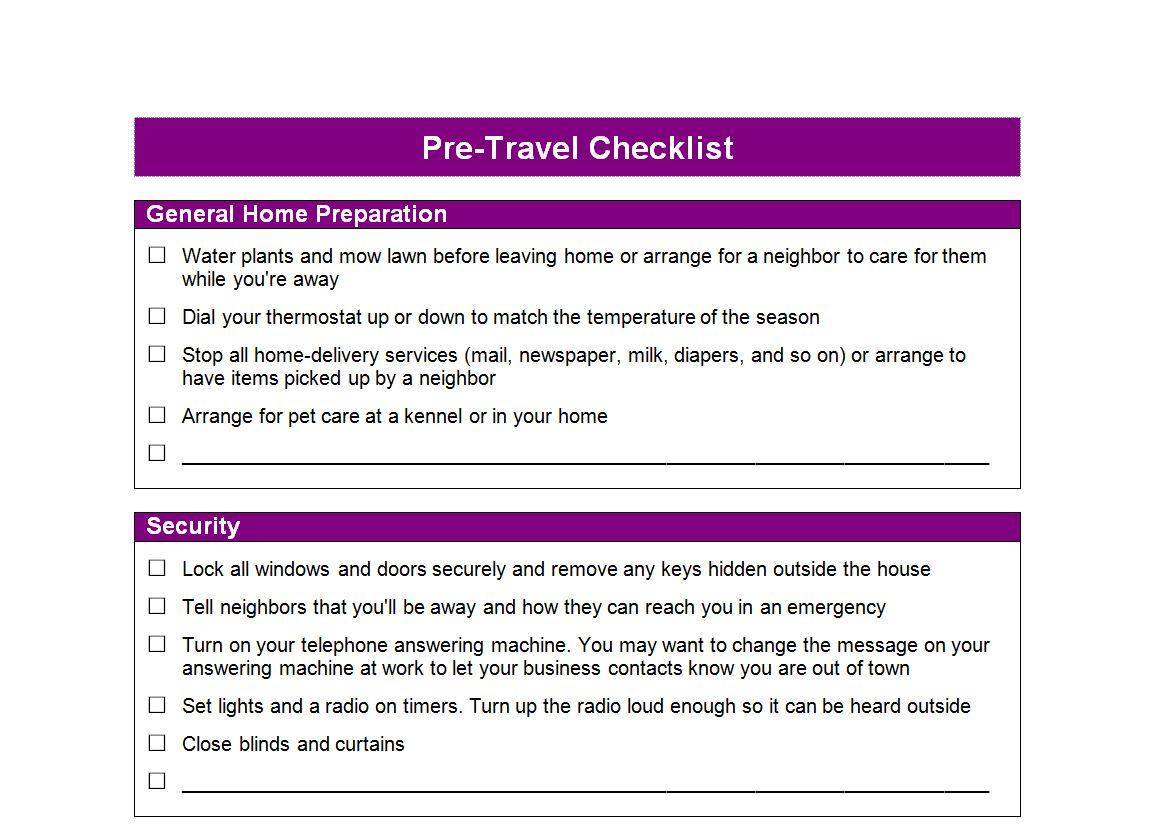 Pre Travel Checklist Pretravel Checklist