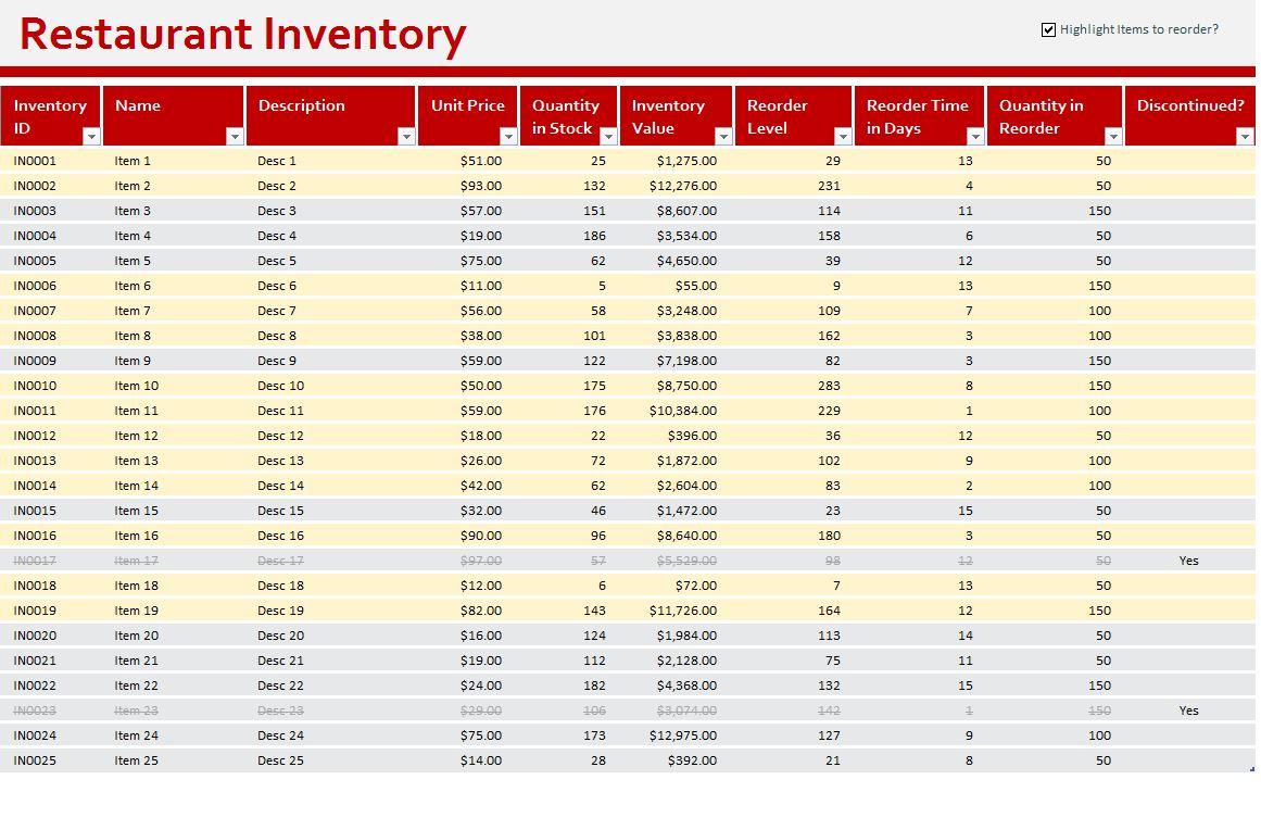 Restaurant Inventory Sheet  Restaurant Inventory Template