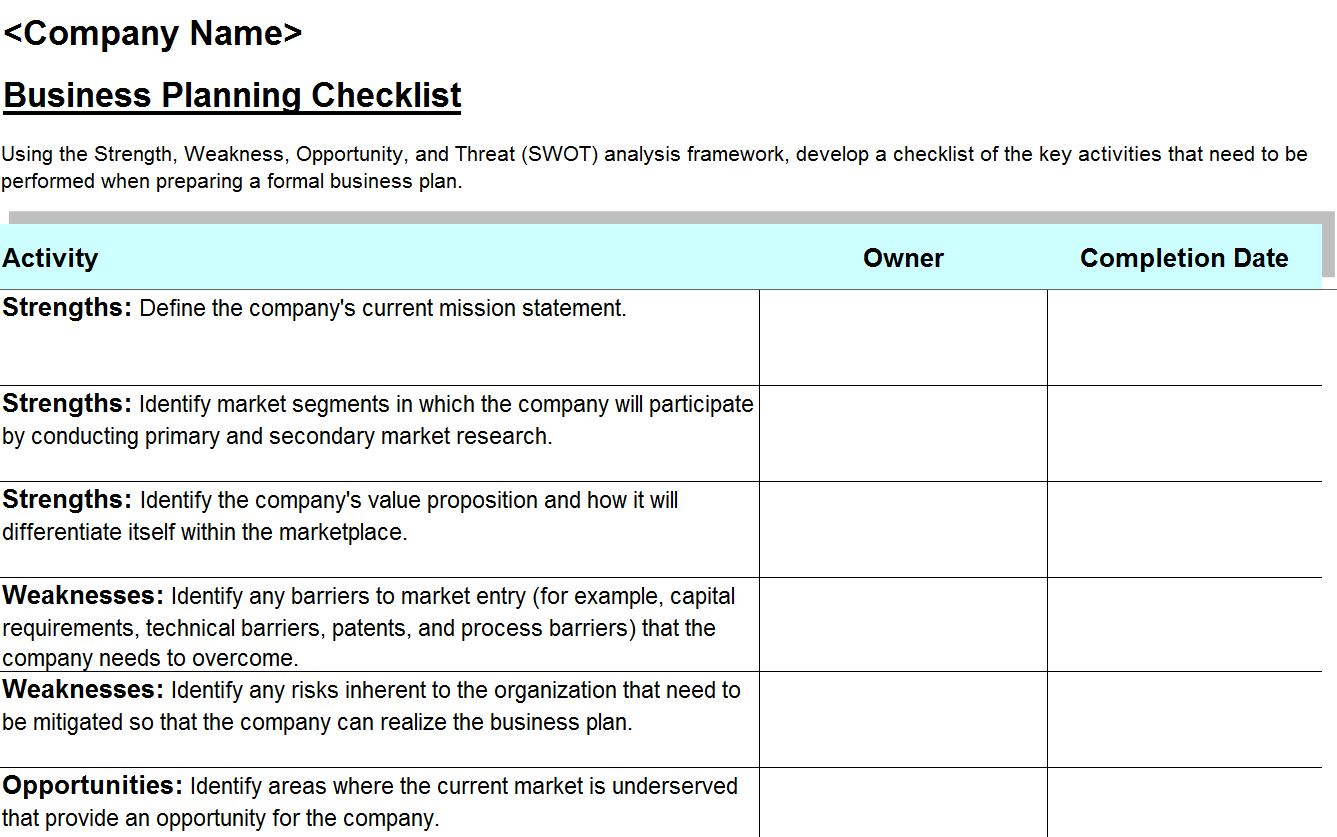 SWOT Analysis Checklist  SWOT Analysis Template