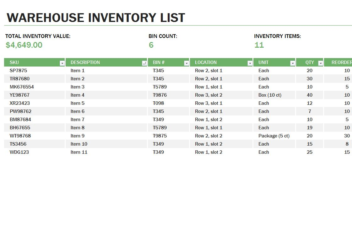 inventory sheet template pdf