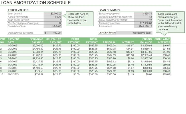 Template For Amortizing A Loan Excel Software Free