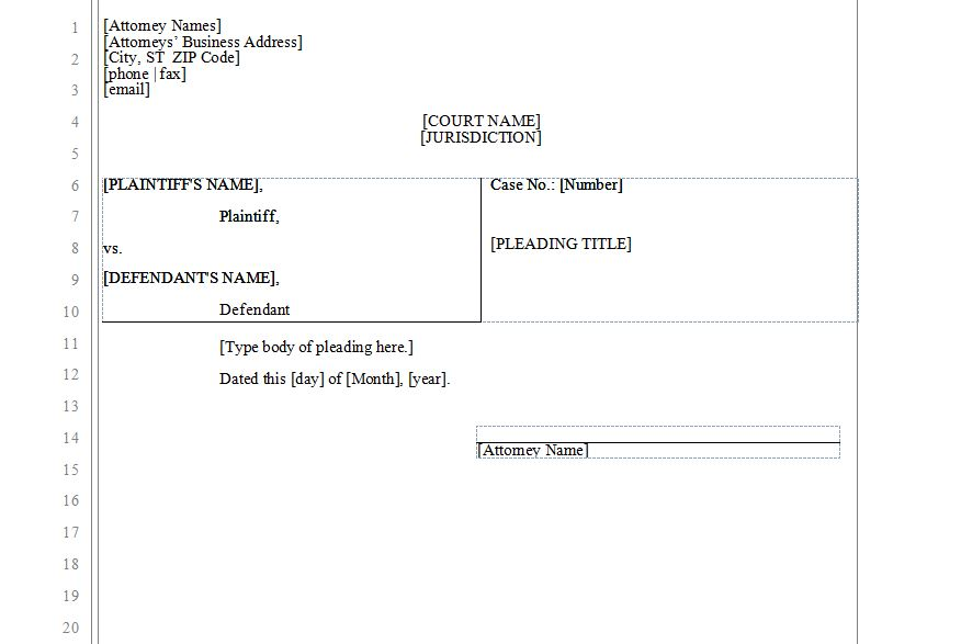 Legal Pleading Template Legal Pleading