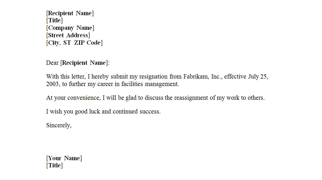 Resignation Letter Sample Word Document