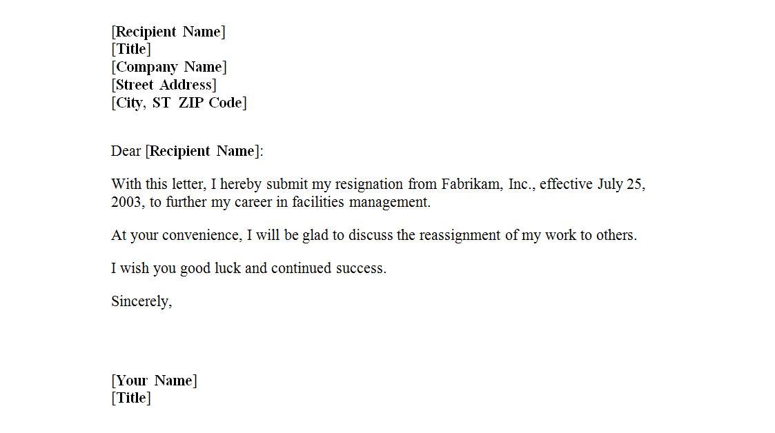 resignation letter sample blank template