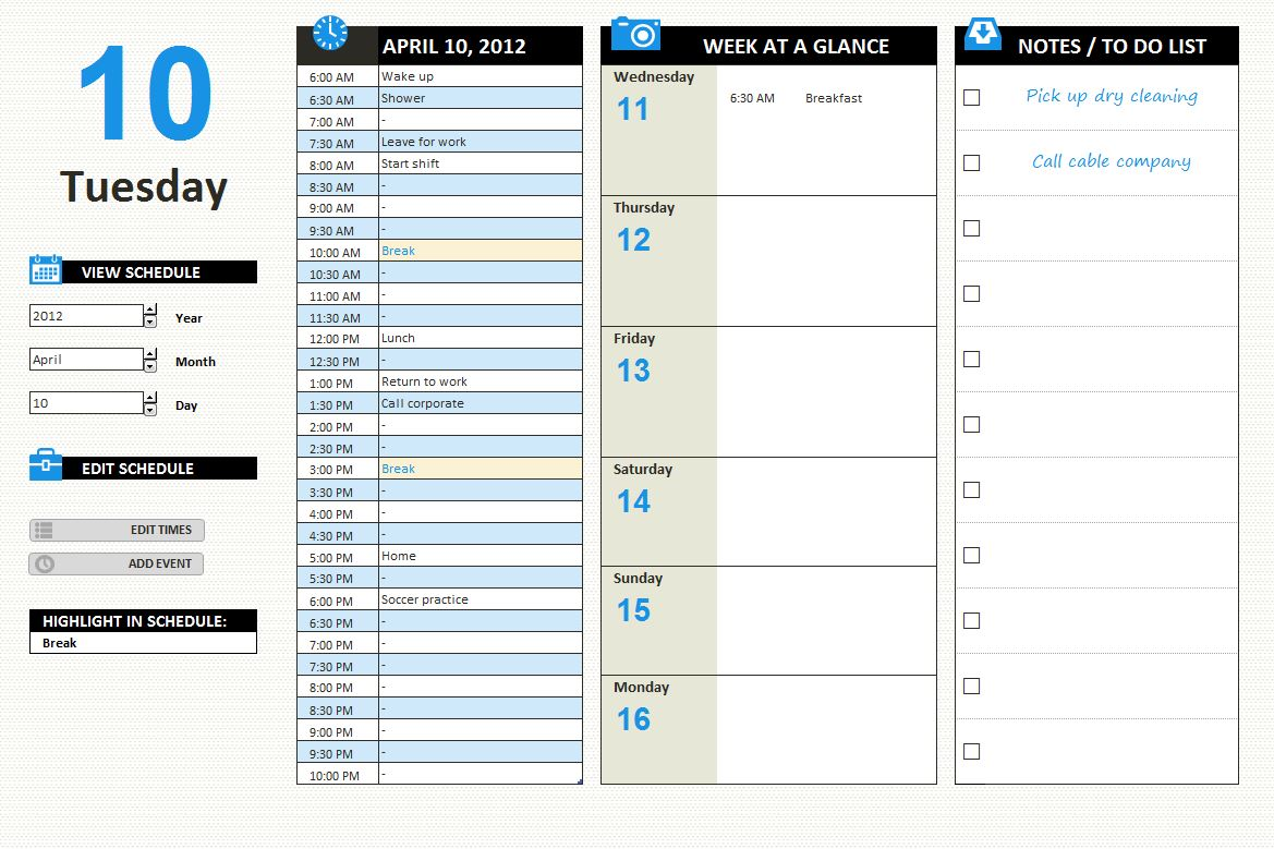 Printable Daily Schedule Calendar Page 2