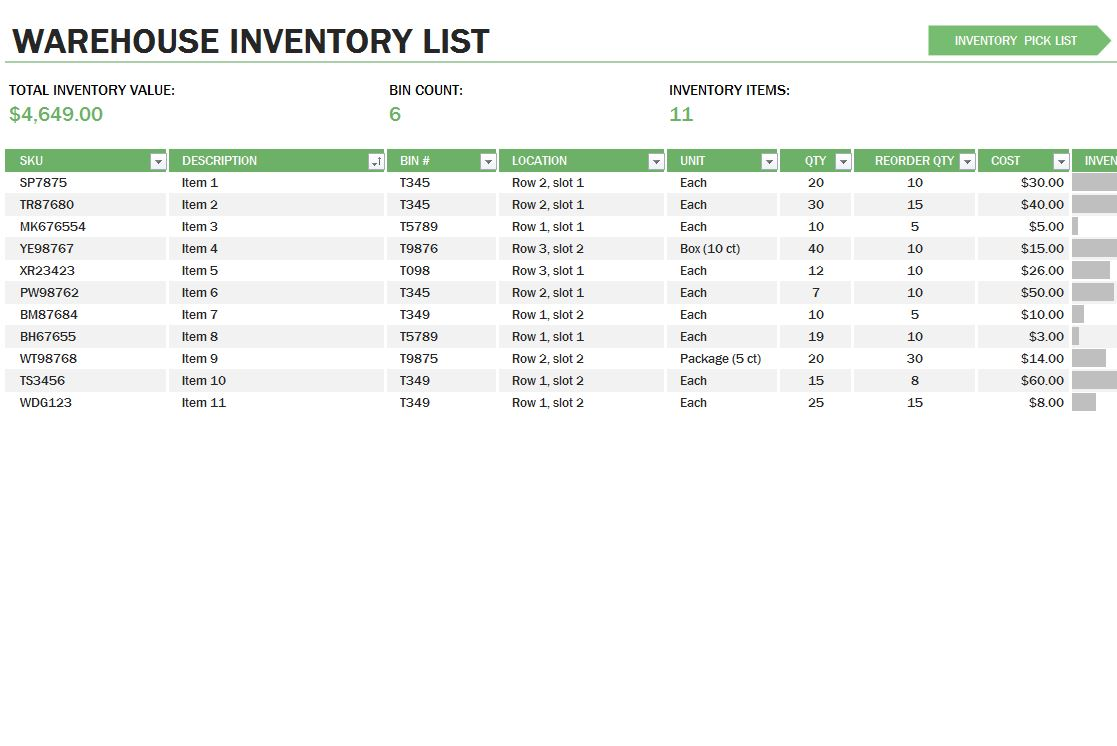 excel templates for inventory control