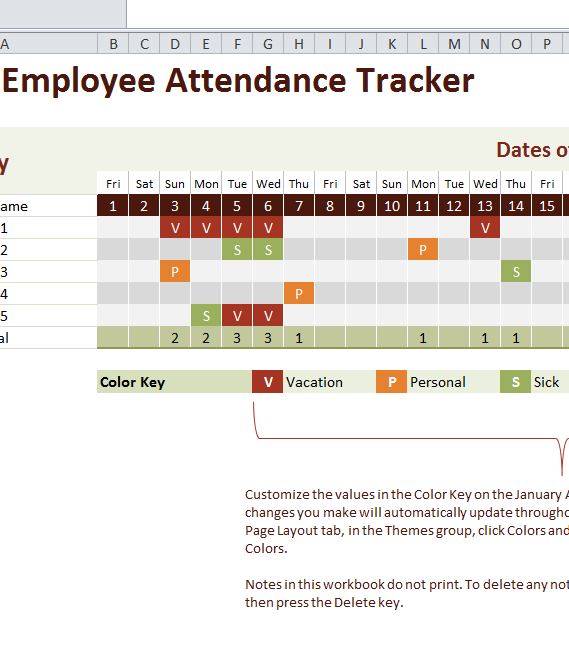 2016 Employee Attendance Tracker  My Excel Templates