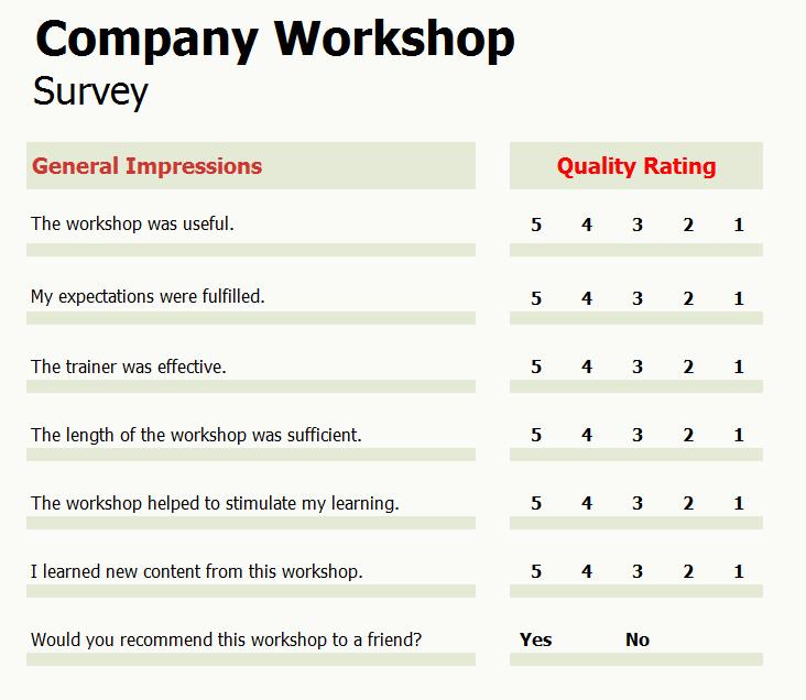 Company Workshop Survey