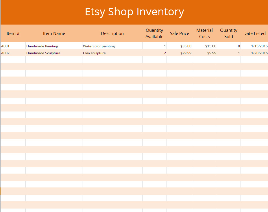 Excel Etsy Inventory Template