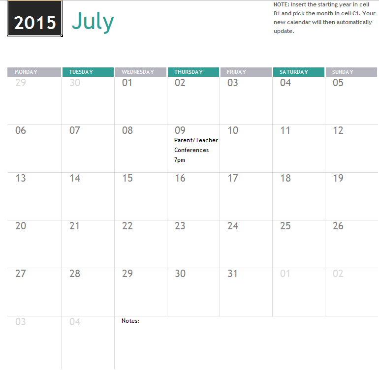 Any Year Academic Calendar My Excel Templates