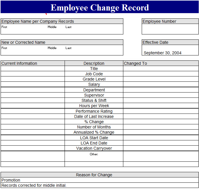 Employee Change Record Template  My Excel Templates