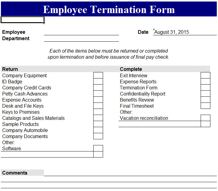 Employee Termination Form  My Excel Templates