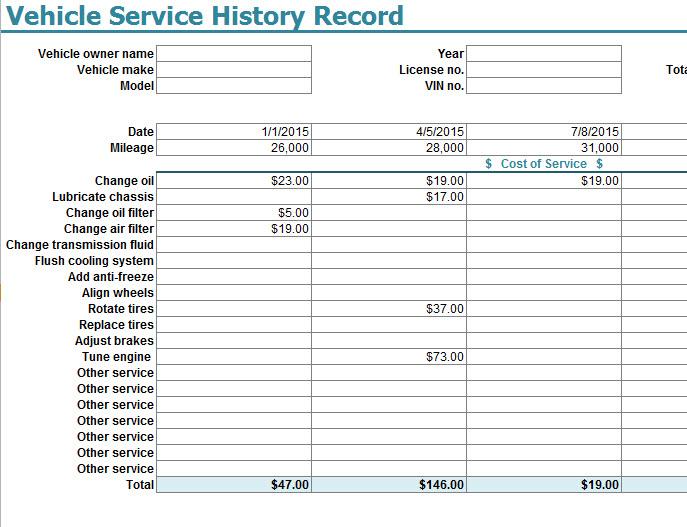 vehicle service sheet template