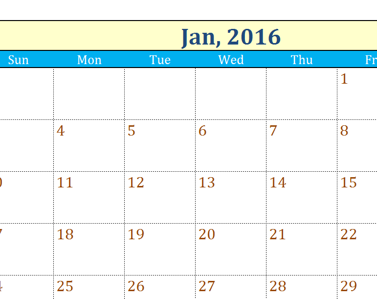 Any Year Flexible Calendar My Excel Templates