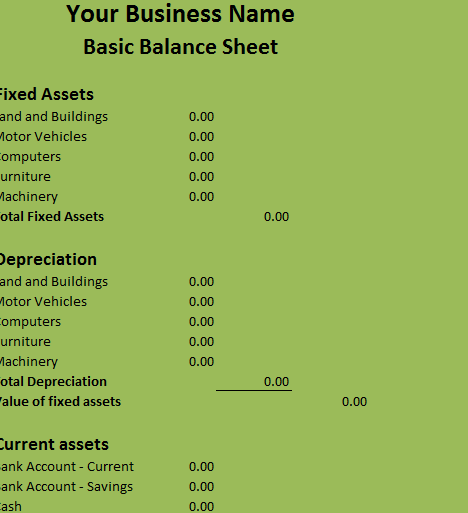 Basic Balance Sheet  My Excel Templates
