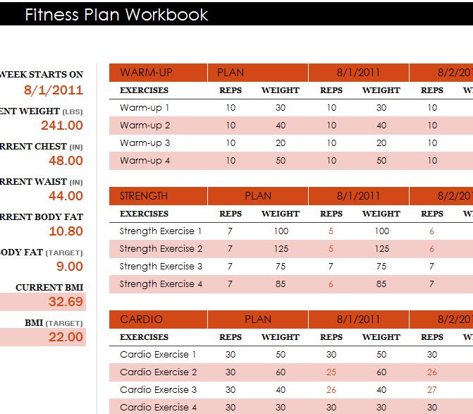 Fitness Plan Workbook  My Excel Templates