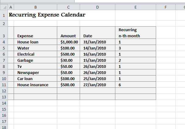 Recurring Expense Calendar  My Excel Templates