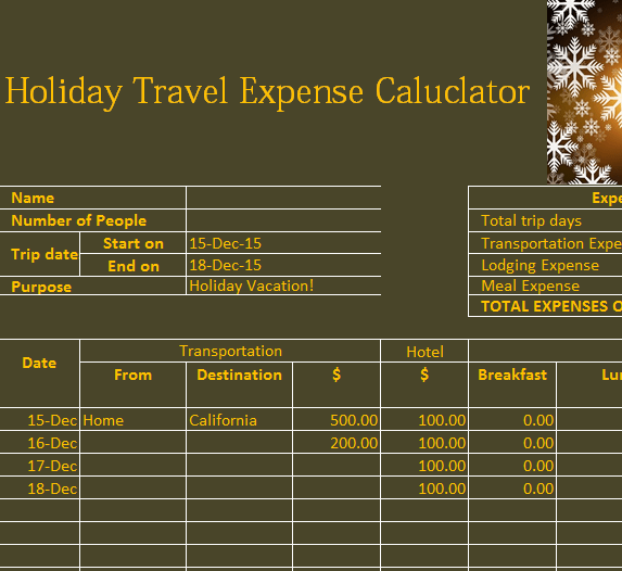 Holiday Travel Expense Calendar  My Excel Templates