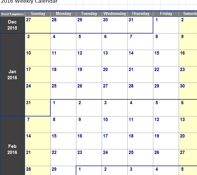 Weekly Calendar Template My Excel Templates