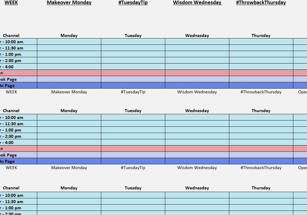 Social Media Posting Calendar My Excel Templates