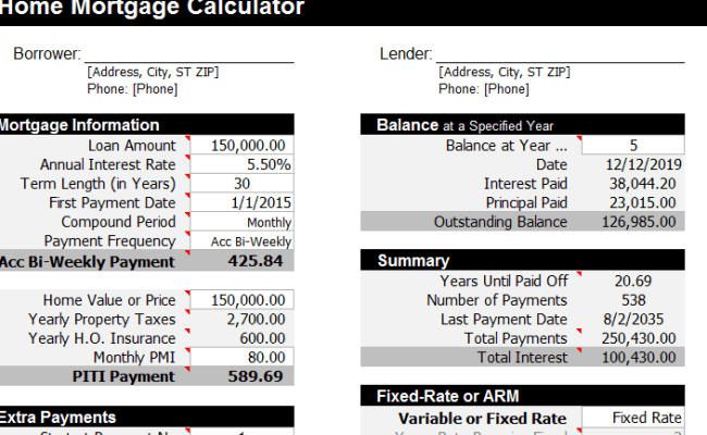 Mortgage Calculator Template My Excel Templates