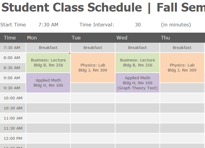 Student Class Schedule  My Excel Templates