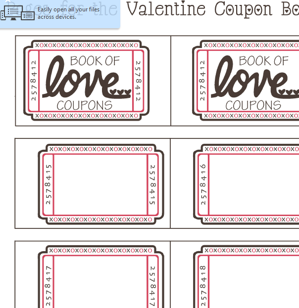 Valentine's Day Coupon Sheet My Excel Templates