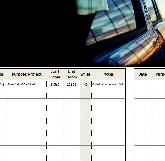 mileage calendar