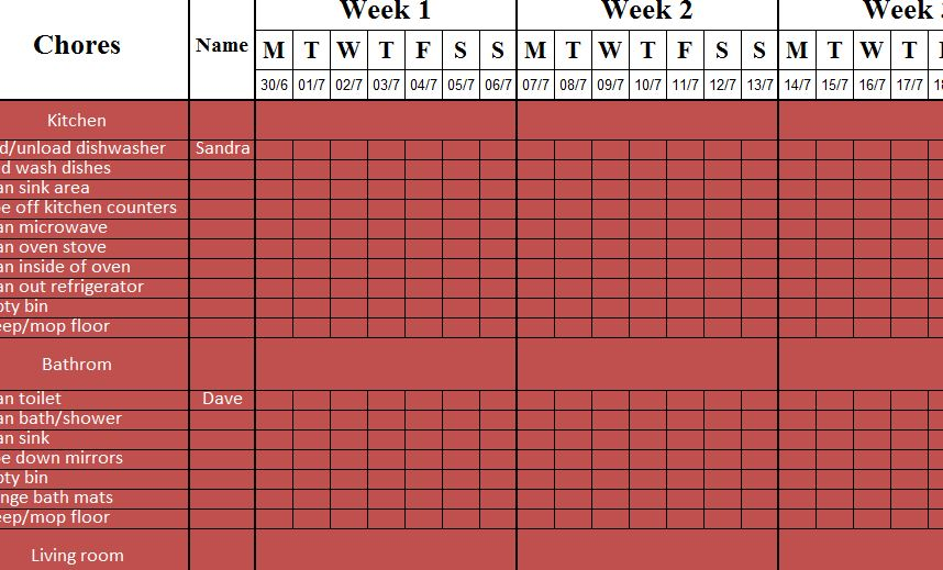 Weekly Cleaning Sheet  My Excel Templates