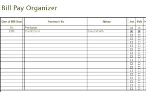 Bill Pay Organizer  My Excel Templates