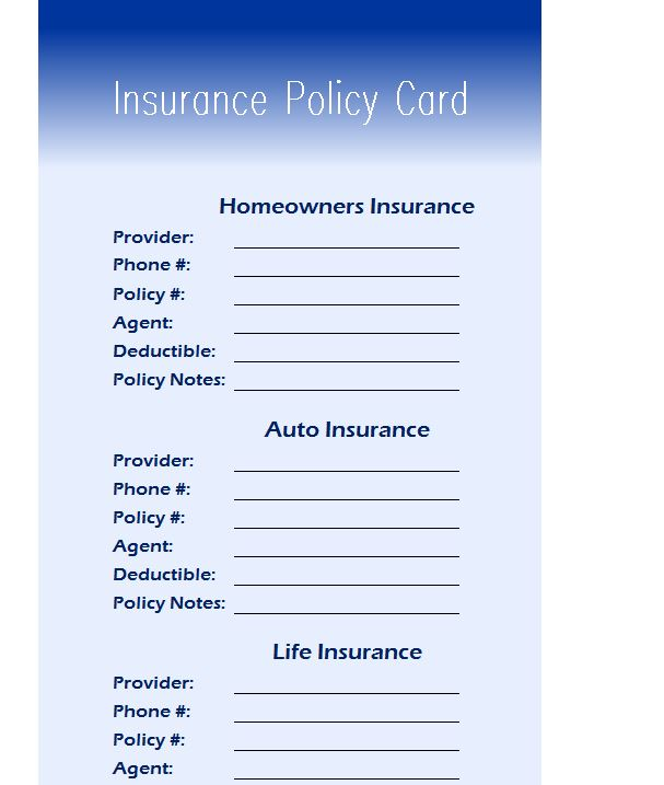 Insurance Policy Card  My Excel Templates