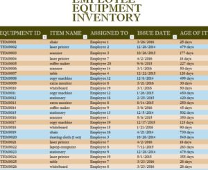 Employee Equipment Inventory Sheet - My Excel Templates
